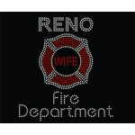 Rhinestone Fire Department Wife Tee, Black