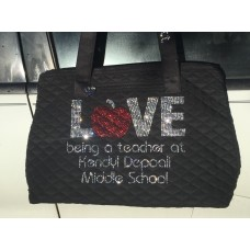 Rhinestone Teacher Love Tote Bag