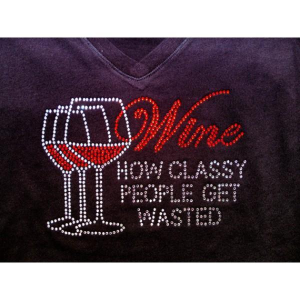 Rhinestone Classy People Wine Tee, Black