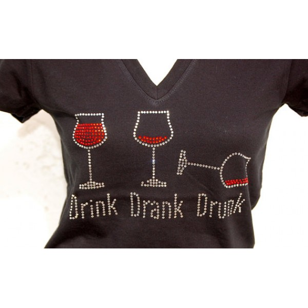 Rhinestone Drink, Drank, Drunk Wine Tee, Black