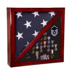 Rosewood Piano Finish Flag & Memorabilia Display Case