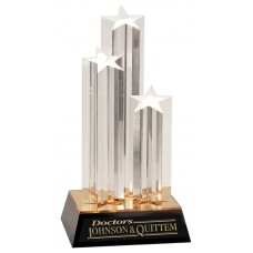 Clear Triple Star Column Acrylic Award with Gold and Black Base