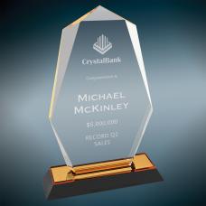 "Gold Octagon Point Impress Acrylic Award, 8"""