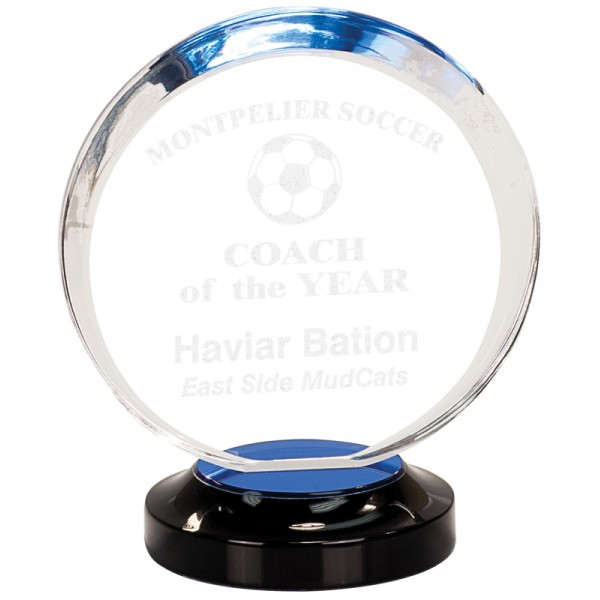 Blue Round Halo Acrylic Award on Base