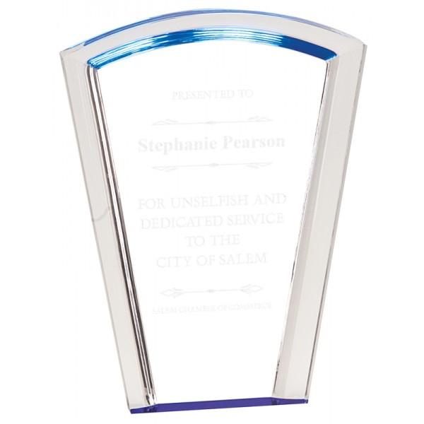 Blue Fan Halo Acrylic Award