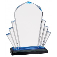 Blue Faceted Impress Acrylic Award