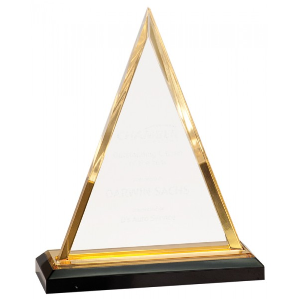 "Gold Triangle Impress Acrylic Award, 7 3/4"""