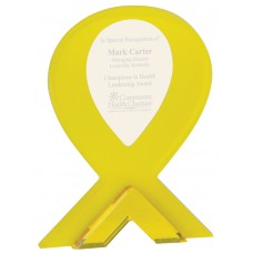 Yellow Ribbon Stand Up Acrylic Award, Large