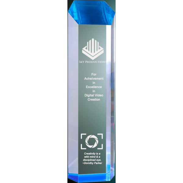 Blue Acrylic Tower Award