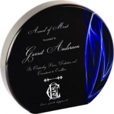 Blue Vapor Acrylic Award, Round
