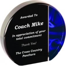 Blue Wave Acrylic Award, Round