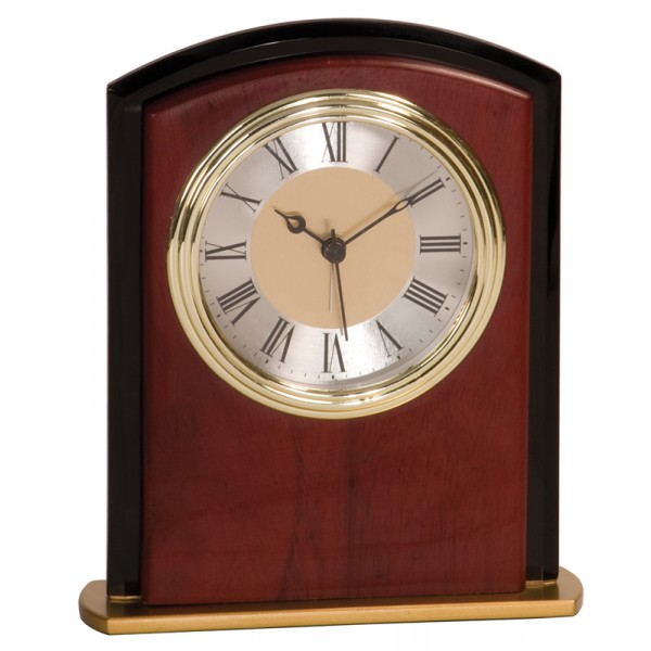 "6 1/2"" Mahogony Finish Square Arch Clock"