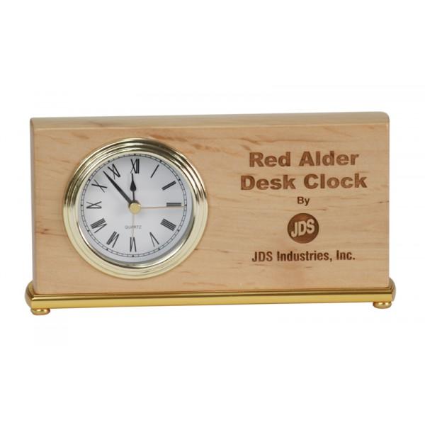 "4"" x 7 1/2"" Red Alder Horizontal Desk Clock"