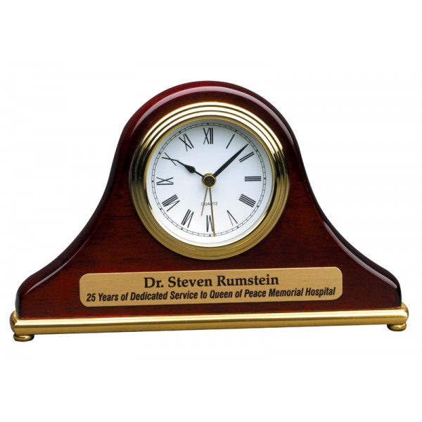 "7 1/2"" x 4 1/2"" Rosewood Piano Finish Mantel Desk Clock"