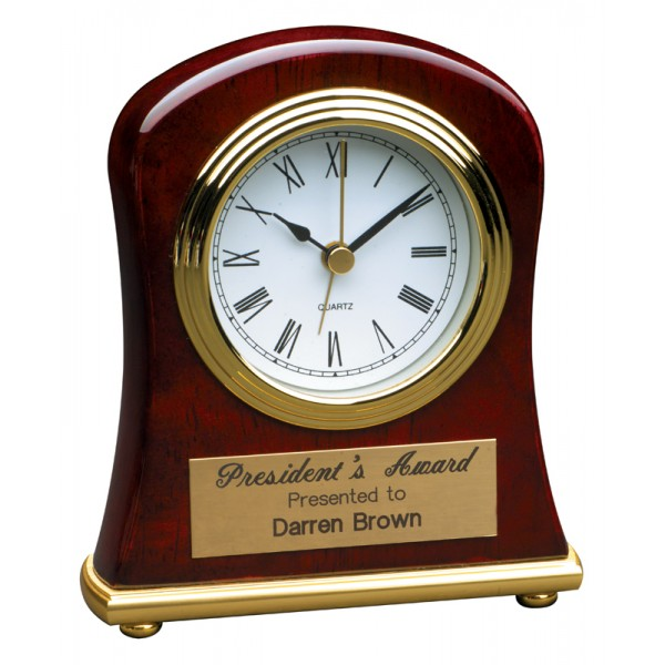 "4 1/2"" x 5"" Rosewood Piano Finish Bell Shaped Desk Clock"