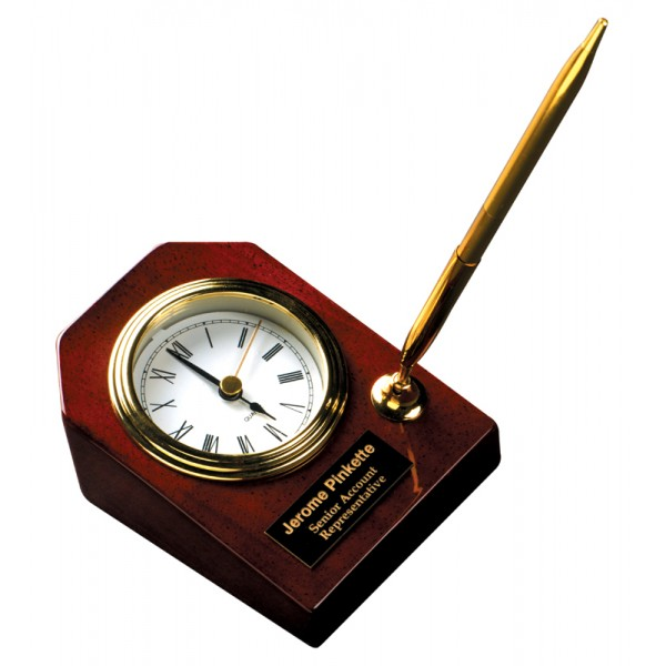 "3 5/8"" x 4 3/4"" Rosewood Piano Finish Desk Clock with Pen"