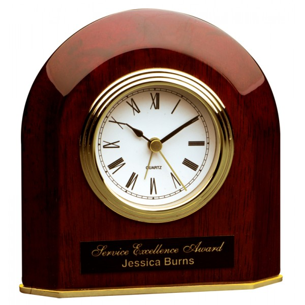 "5 1/4"" x 5 1/2"" Rosewood Piano Finish Beveled Arch Desk Clock"