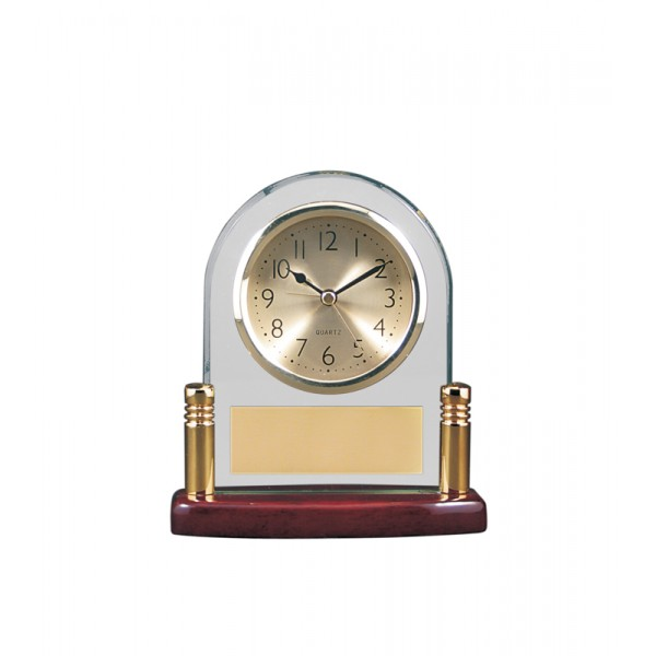 "5 3/4"" x 6 1/8"" Arch Glass and Piano Finish Desk Clock with Posts"