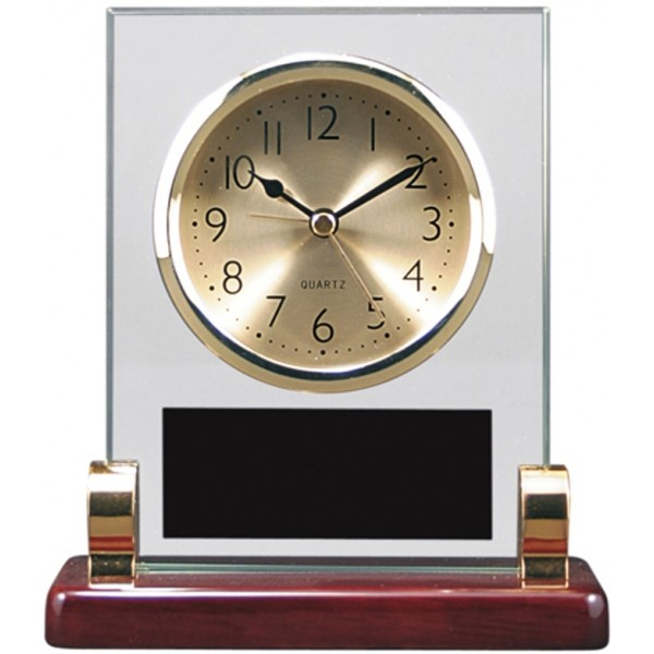"5 3/4"" x 6 1/2"" Rectangle Glass and Piano Finish Desk Clock with Posts"