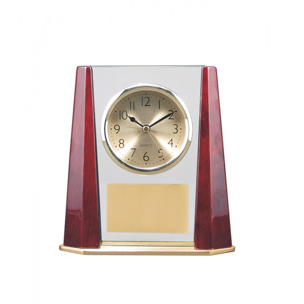 "7"" x 7 1/4"" Glass and Piano Finish Clock with Bevel Columns"