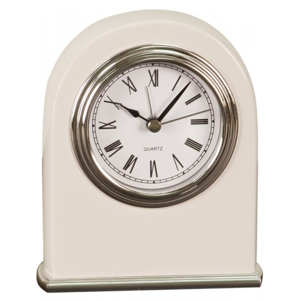 "4"" x 5"" White Piano Finish Arch Desk Clock"