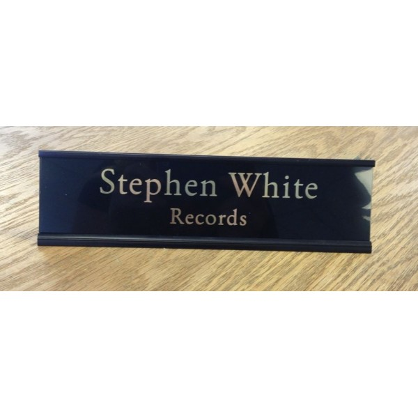 "2"" x 8"" Desk Sign with Engraved Plastic Insert"