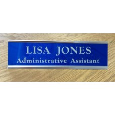 """2"""" x 8"""" Desk Sign with Engraved Metal Insert"""