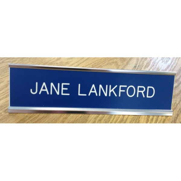 "2"" x 10"" Desk Sign with Engraved Plastic Insert"