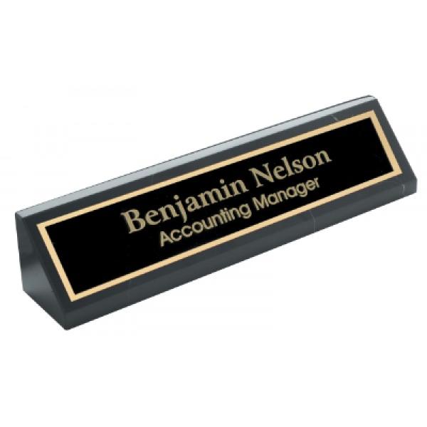 """10"""" Black Genuine Marble Desk Wedge"""