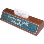 "10"" Genuine Walnut Desk Wedge with Business Card Holder"