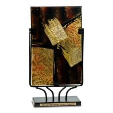 "8"" x 14 Rectangular Art Glass with Metal Base"