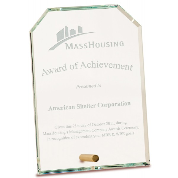 Clear Clipped Rectangle CrystalEdge Glass Award, Medium