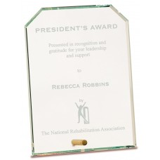 Clear Clipped Rectangle CrystalEdge Glass Award, Large