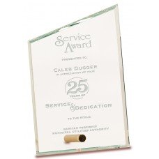 Clear Slant Rectangle CrystalEdge Glass Award, Small