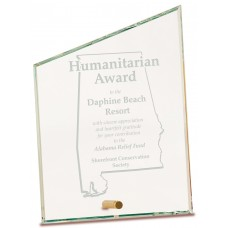 Clear Slant Rectangle CrystalEdge Glass Award, Large