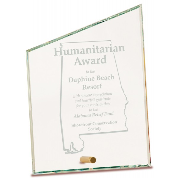 Clear Slant Rectangle CrystalEdge Glass Award, Large