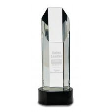 Octagon Slant Top Crystal on Black Pedestal Base