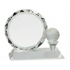 Golf Ball And Faceted Circle Crystal Award