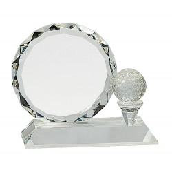 Golf Ball And Faceted Circle Crystal Award