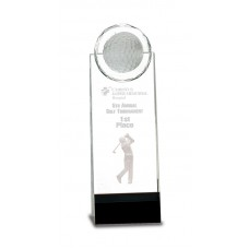 Clear/black Crystal Stand-up with 3D Golfer