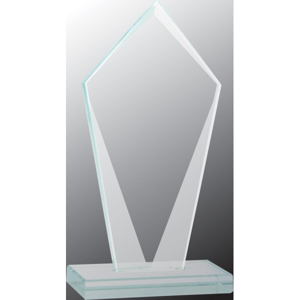 Tall Diamond Jade Glass Award, Large