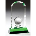 Arch Top Crystal with Golf Ball on Green Crystal Base