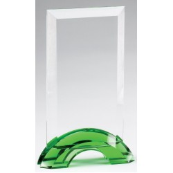 Emerald Green Double Arc Rectangle Glass Award, Small