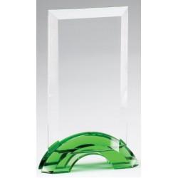 Emerald Green Double Arc Rectangle Glass Award, Small