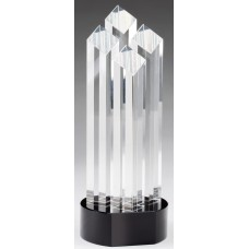 "Optical Crystal 4 Rising Diamonds on Black Pedestal Base, 9 3/4"""