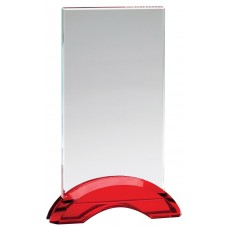 Ruby Red Double Arc Rectangle Glass Award, Small