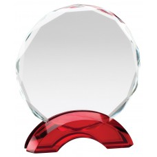 Ruby Red Double Arc Round Glass Award, Small