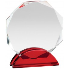 Ruby Red Double Arc Octagon Glass Award, Small