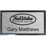 "Black Plastic 1 1/2"" x 3 Name Badge with Square Corners"