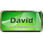 "Gold Plastic 1 1/2"" x 3 Name Badge with Round Corners"
